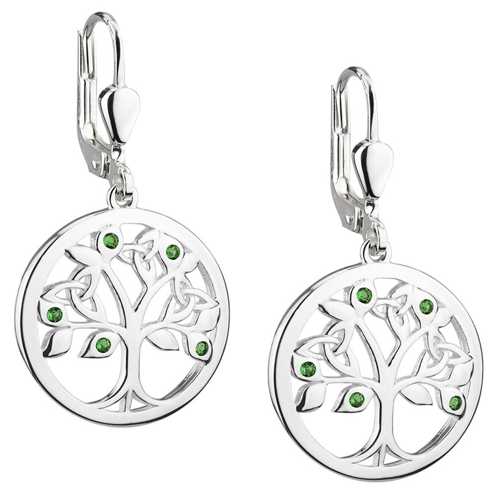 Irish Earrings | Sterling Silver Green Crystal Celtic Tree of Life Earrings