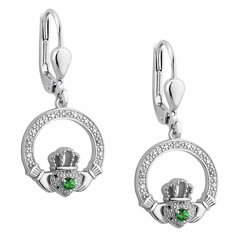 Irish Earrings | Sterling Silver Green Crystal Illusion Claddagh Earrings