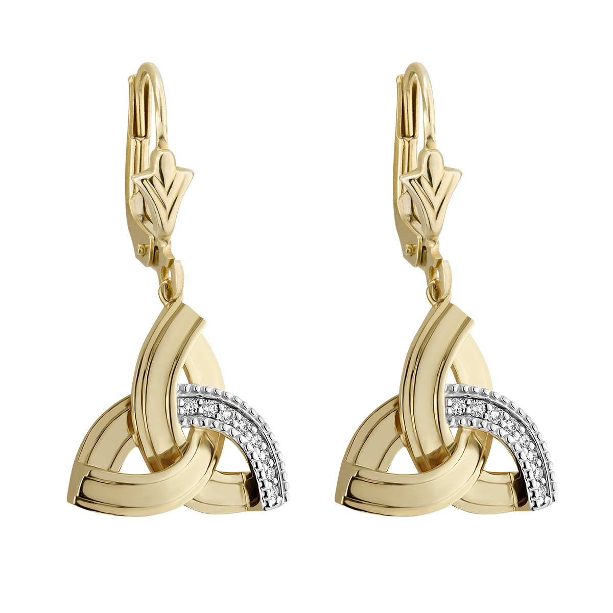 Irish Earrings | 14k Gold Diamond Drop Celtic Trinity Knot Earrings