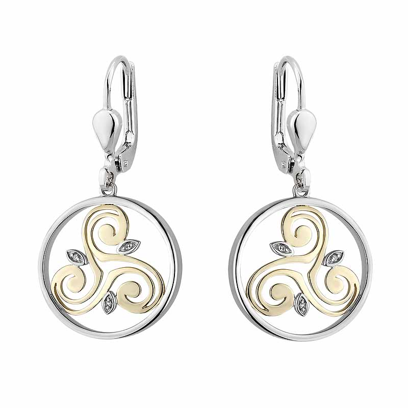 Irish Earrings | Diamond Sterling Silver and 10k Yellow Gold Round Celtic Spiral Triskele Earrings