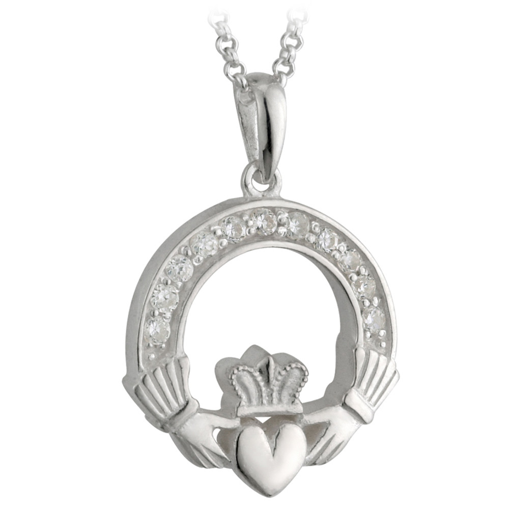 Irish Necklace | Sterling Silver Crystal Claddagh Pendant