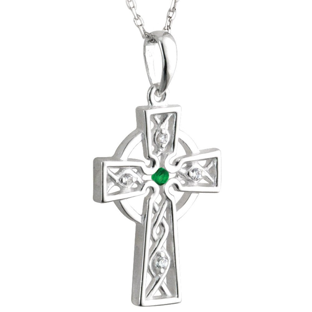 Irish Necklace | Sterling Silver Crystal Spiral Celtic Cross Pendant