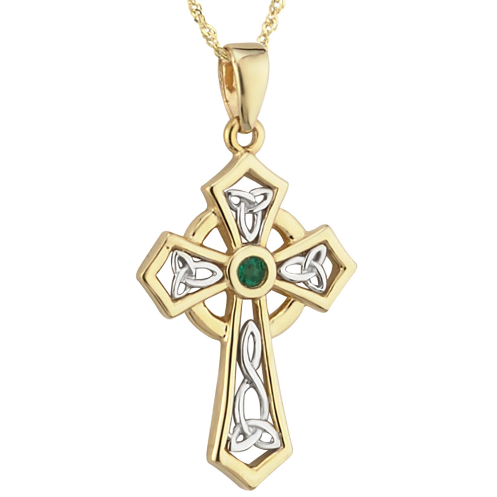Irish Necklace | 14k Two Tone Gold Emerald Trinity Knot Celtic Cross Pendant