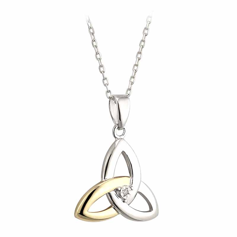 Irish Necklace | Diamond Sterling Silver and 10k Yellow Gold Celtic Trinity Knot Pendant