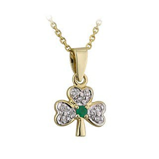 Irish Necklace | Gold Plated Crystal Shamrock Pendant