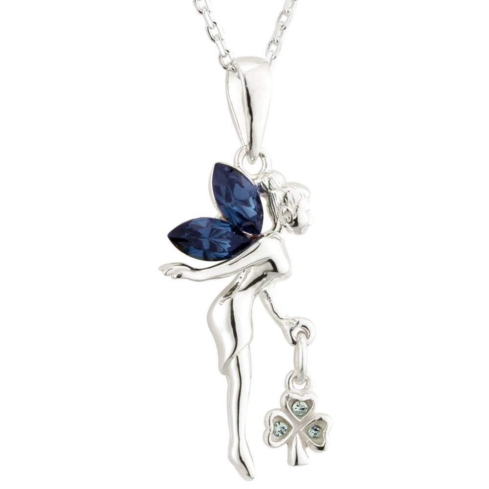 Irish Necklace | Sterling Silver Crystal Fairy Shamrock Pendant