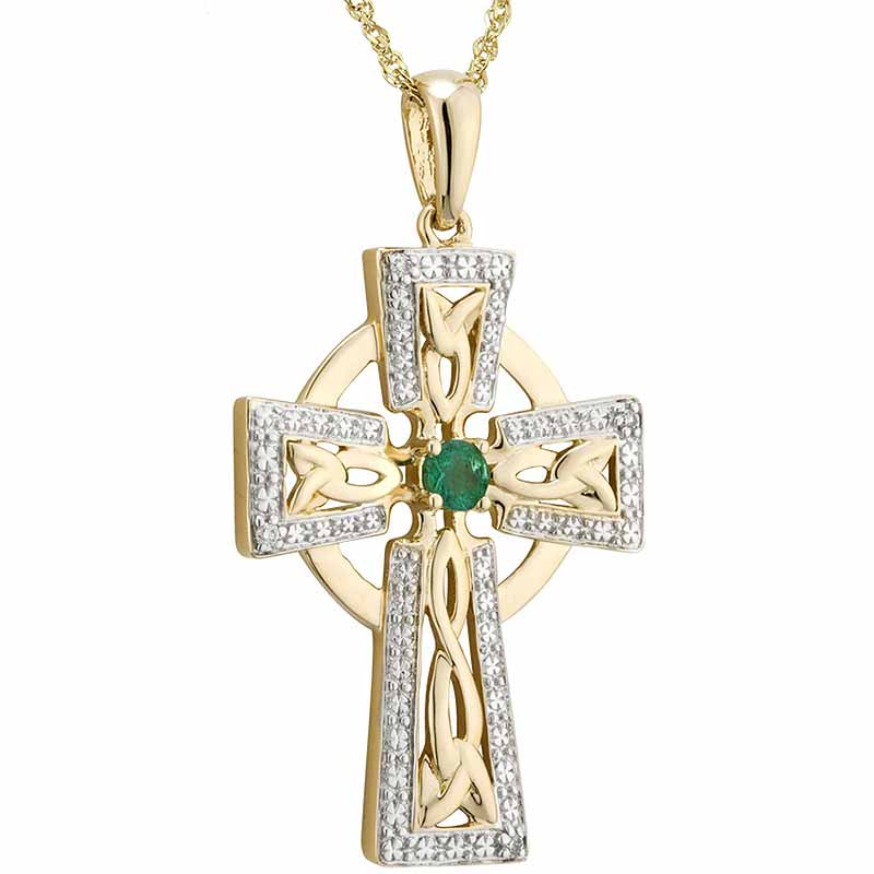 Irish Necklace | 14k Gold Diamond & Emerald Celtic Cross Large Pendant