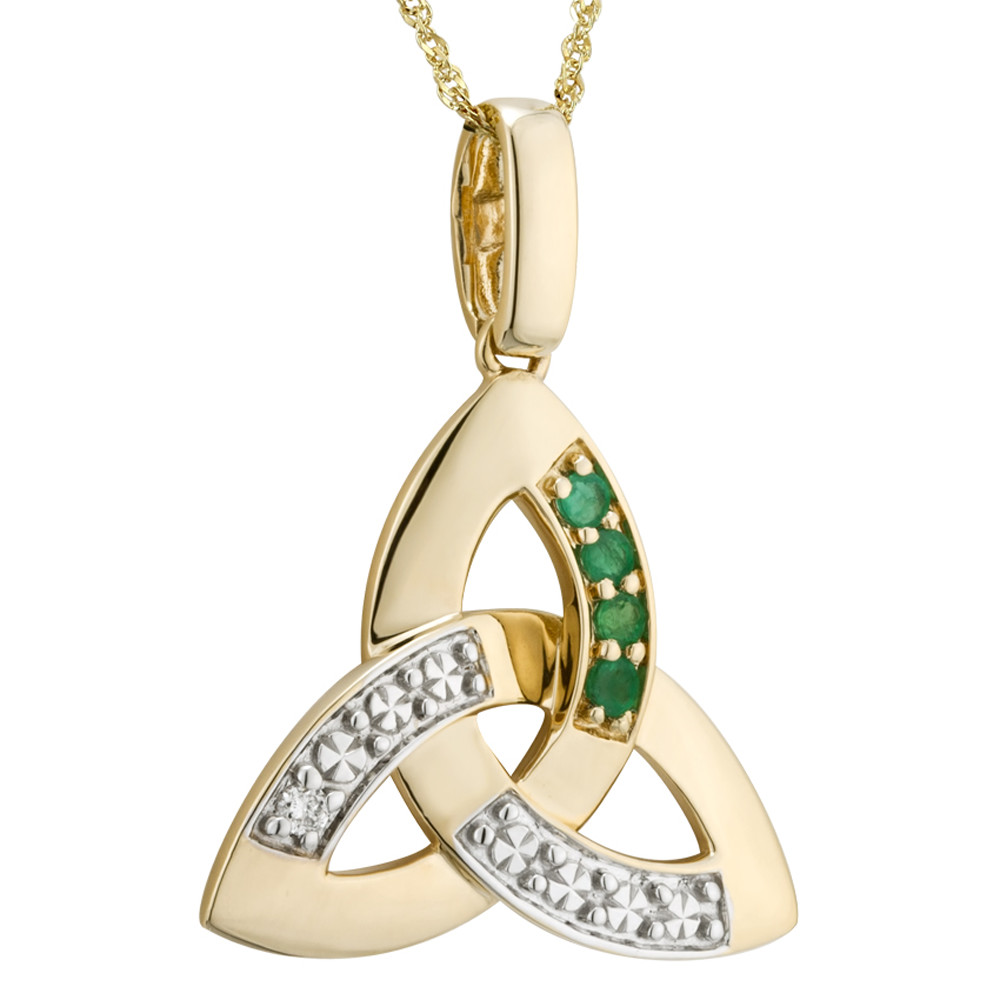 Irish Necklace | 14k Gold Diamond & Emerald Trinity Knot Pendant