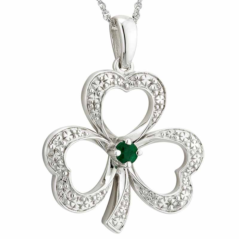 Irish Necklace | 14k White Gold Diamond & Emerald Shamrock Pendant