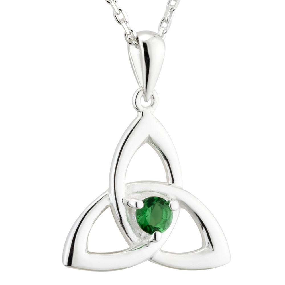 Irish Necklace | Sterling Silver Green Crystal Celtic Trinity Knot Pendant