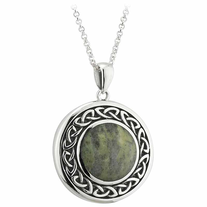 Irish Necklace | Connemara Marble Sterling Silver Celtic Knot Pendant