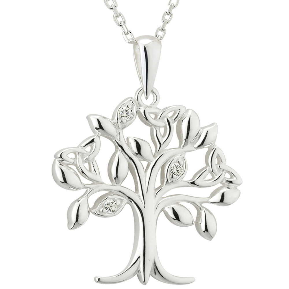 Celtic Necklace - Tree of Life Sterling Silver Crystal Irish Trinity Knot Pendant
