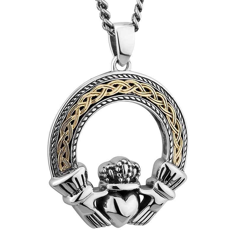 Mens Irish Jewelry Sterling Silver 10k Gold Celtic Claddagh