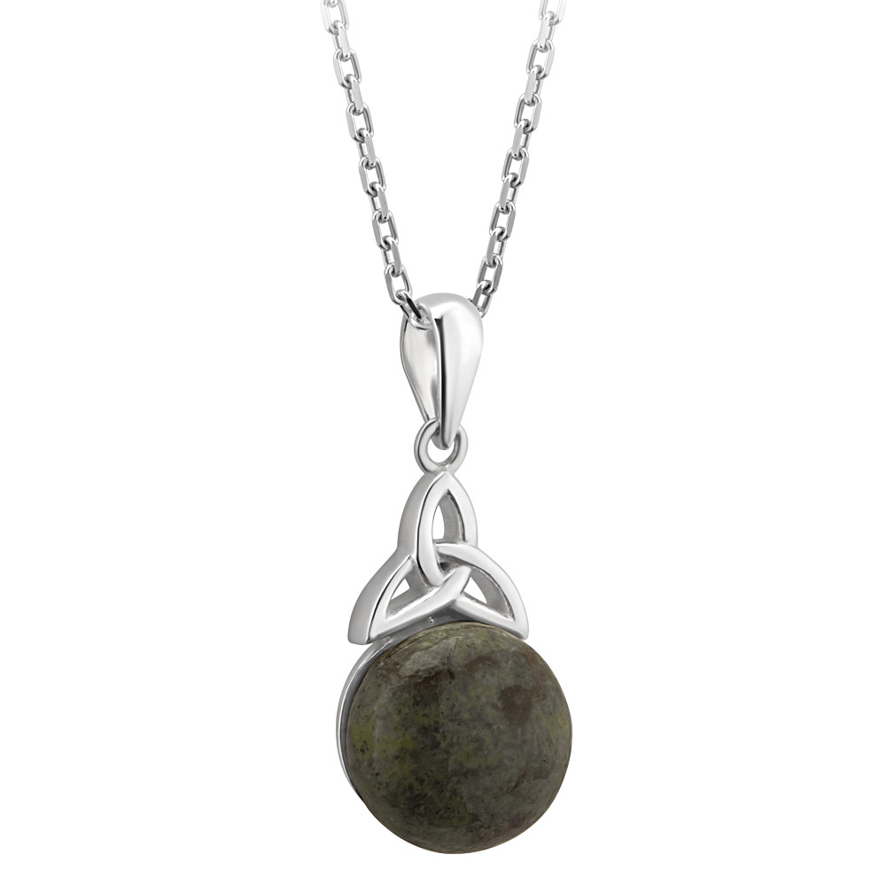3b77f014ae6ad Irish Necklace | Connemara Marble Topped by Trinity Knot Pendant at ...