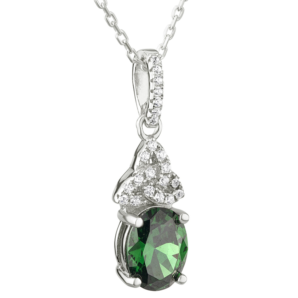Irish Necklace | Sterling Silver Trinity Knot Green Crystal Celtic Pendant