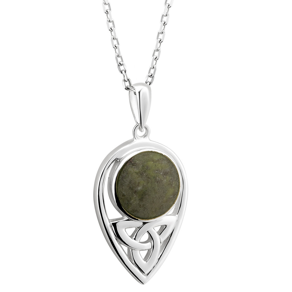 Irish Necklace | Sterling Silver Connemara Marble Dome Trinity Knot Pendant