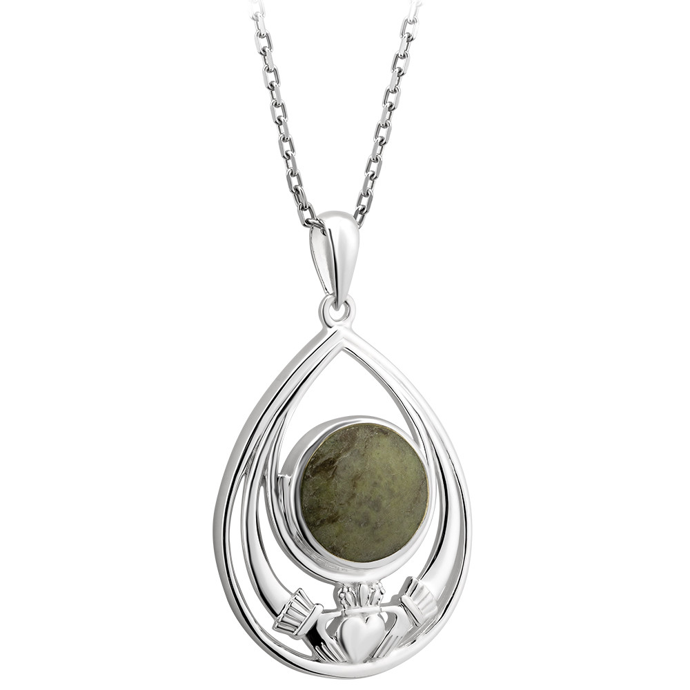 Irish Necklace | Sterling Silver Connemara Marble Dome Claddagh Pendant