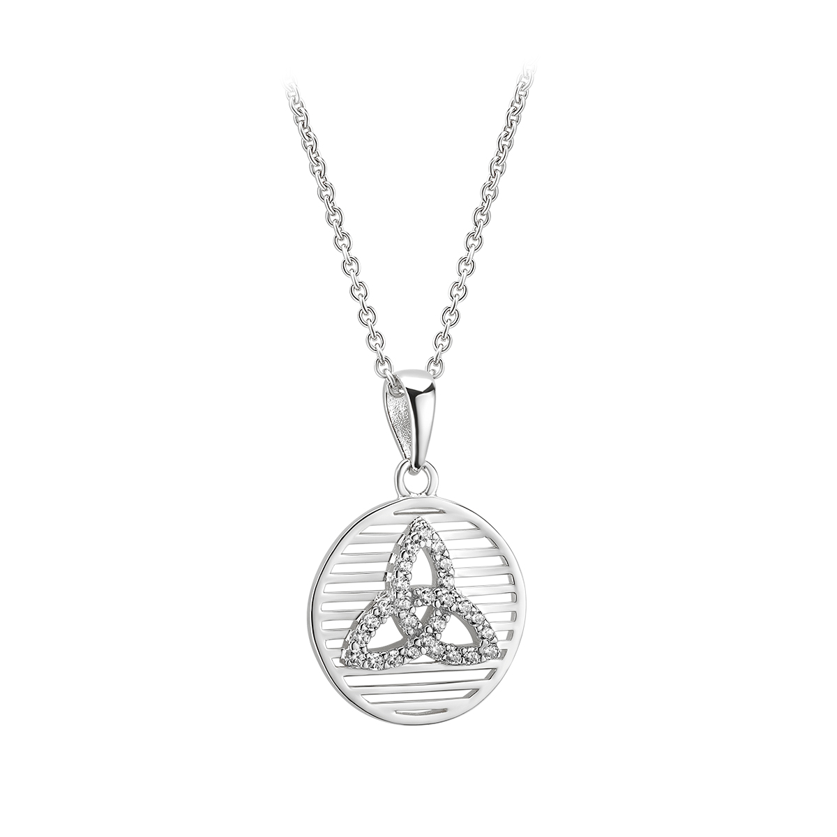 Irish Necklace | Sterling Silver Circle Crystal Celtic Trinity Knot Pendant