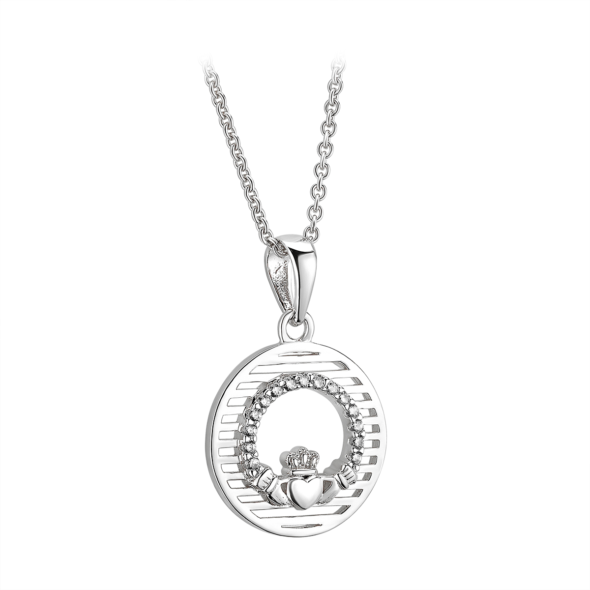 Irish Necklace | Sterling Silver Circle Crystal Claddagh Pendant