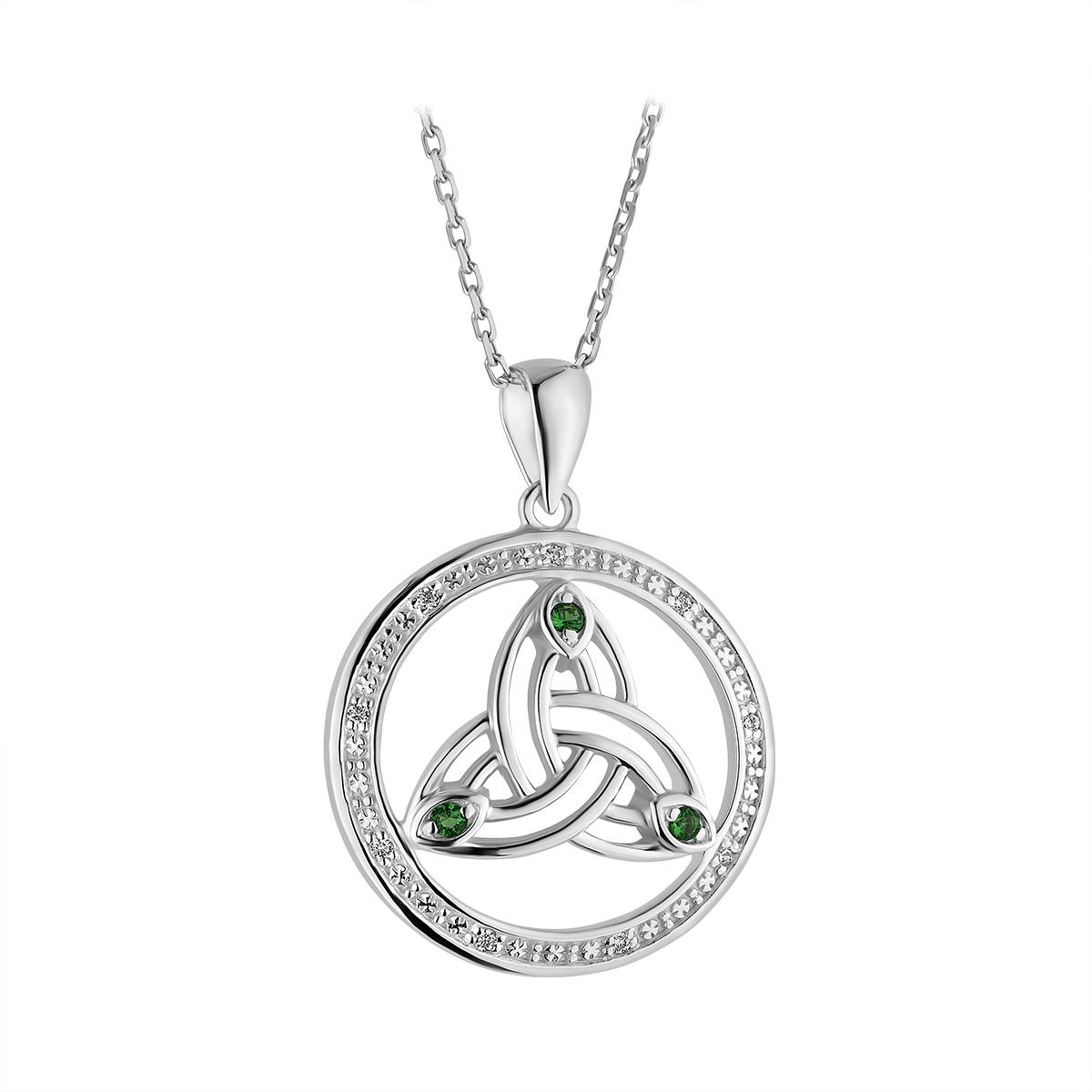 Irish Necklace | Sterling Silver Crystal Round Celtic Trinity Knot Pendant