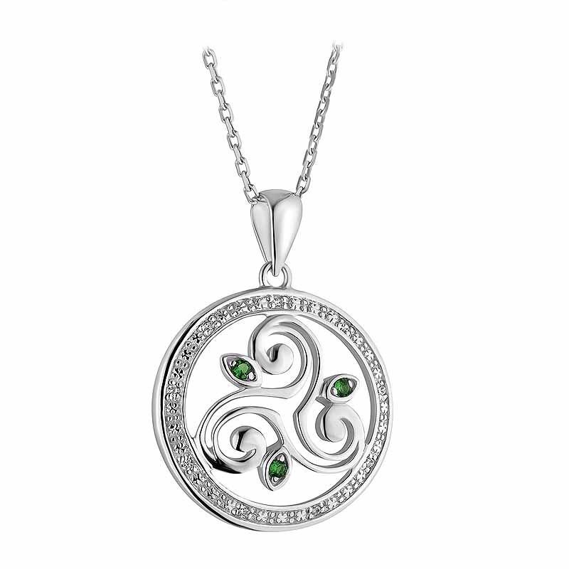 Irish Necklace | Sterling Silver Crystal Round Celtic Spiral Triskele Pendant