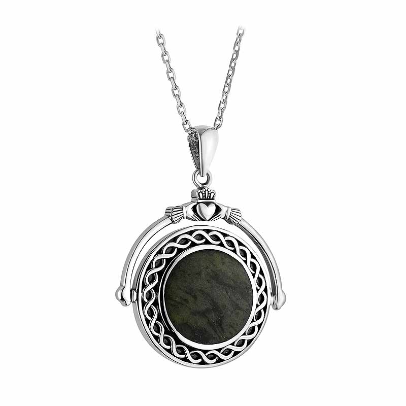 Irish Necklace | Sterling Silver Connemara Marble Fob Celtic Claddagh Pendant