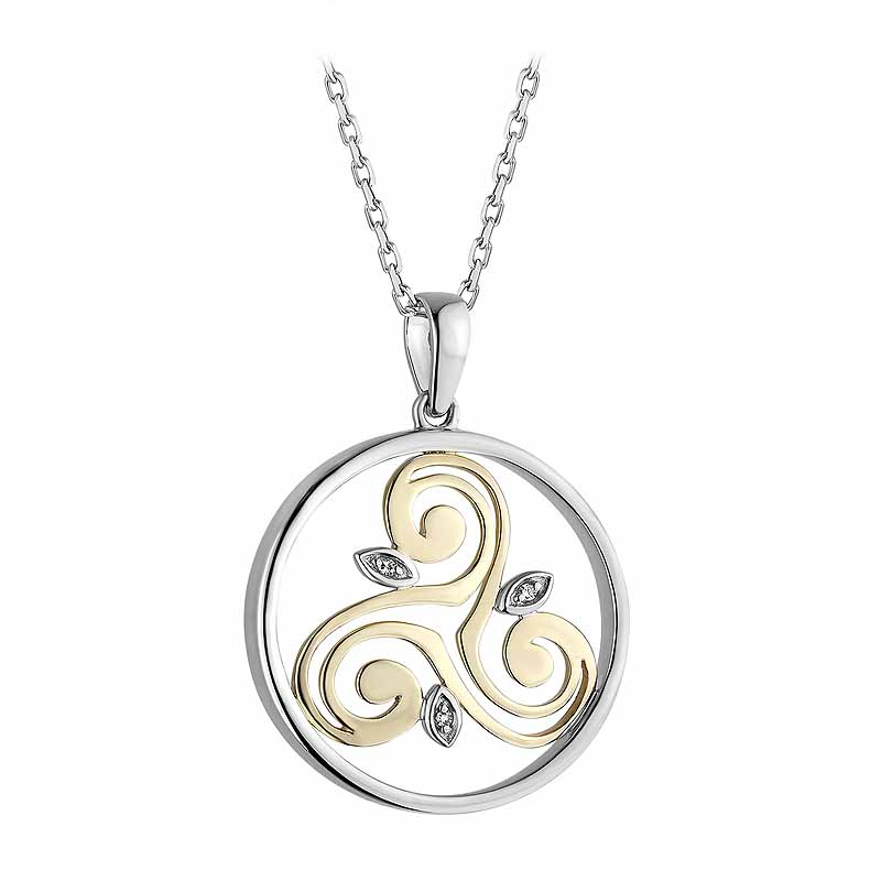 Irish Necklace | Diamond Sterling Silver and 10k Yellow Gold Round Celtic Spiral Triskele Pendant