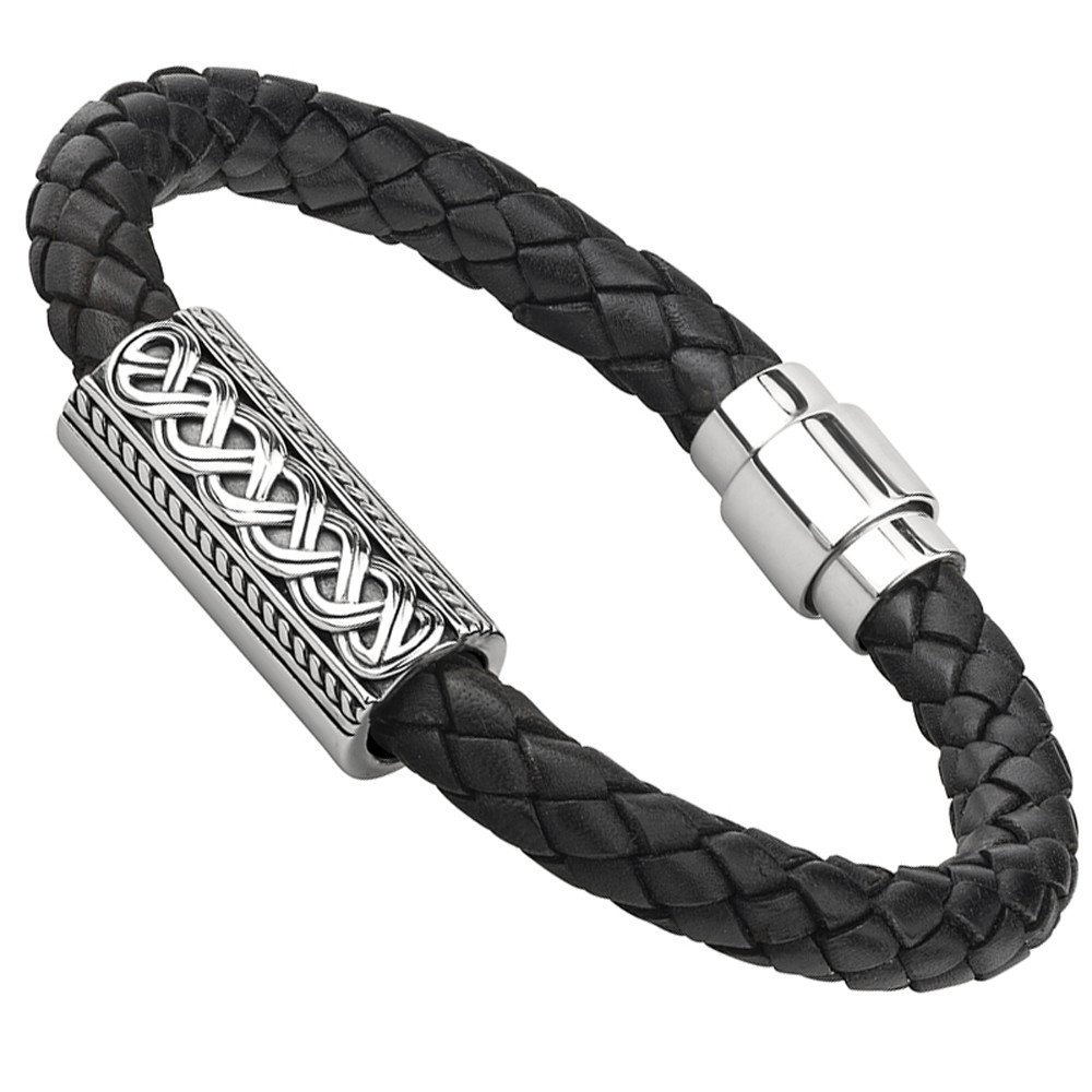 Mens Irish Jewelry | Sterling Silver Leather Celtic Knot Bracelet