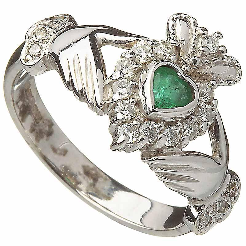 d9bebbdb19d23 Irish Wedding Ring - Ladies 10k White Gold Emerald and Diamond ...