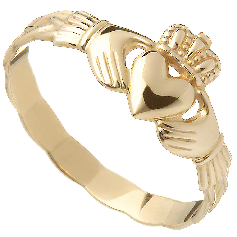 Claddagh Ring - 10k Yellow Gold Maids Irish Celtic Braid Band