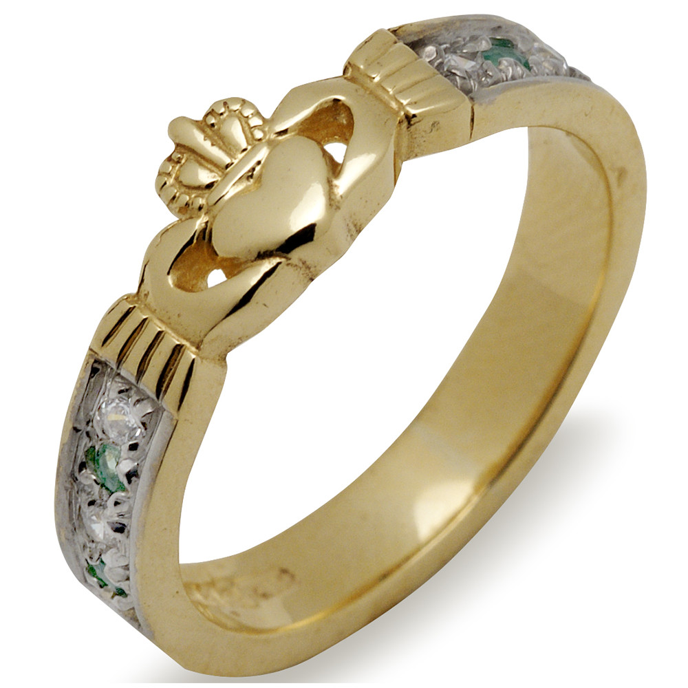Irish Wedding Band - 10k Gold Ladies Emerald and Diamond Claddagh Ring
