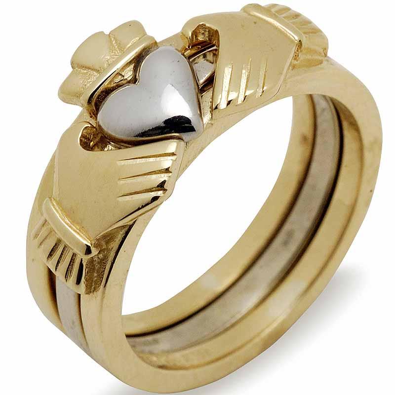 Irish Wedding Band 10k Gold Two Tone Ladies Stacking Claddagh Ring