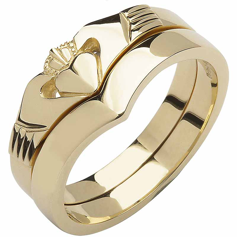 Irish Wedding Band   10k Yellow Gold Ladies Elegant Two Piece Wishbone  Claddagh Ring