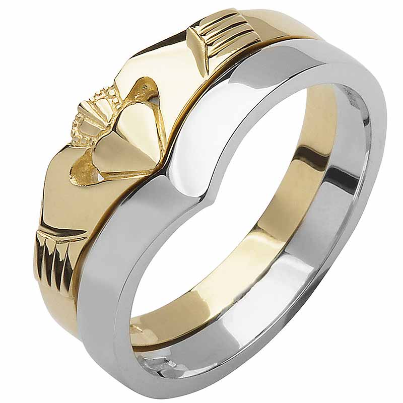 It is a picture of Irish Wedding Band - 47k Yellow and White Gold Ladies Elegant Two Piece Wishbone Claddagh Ring