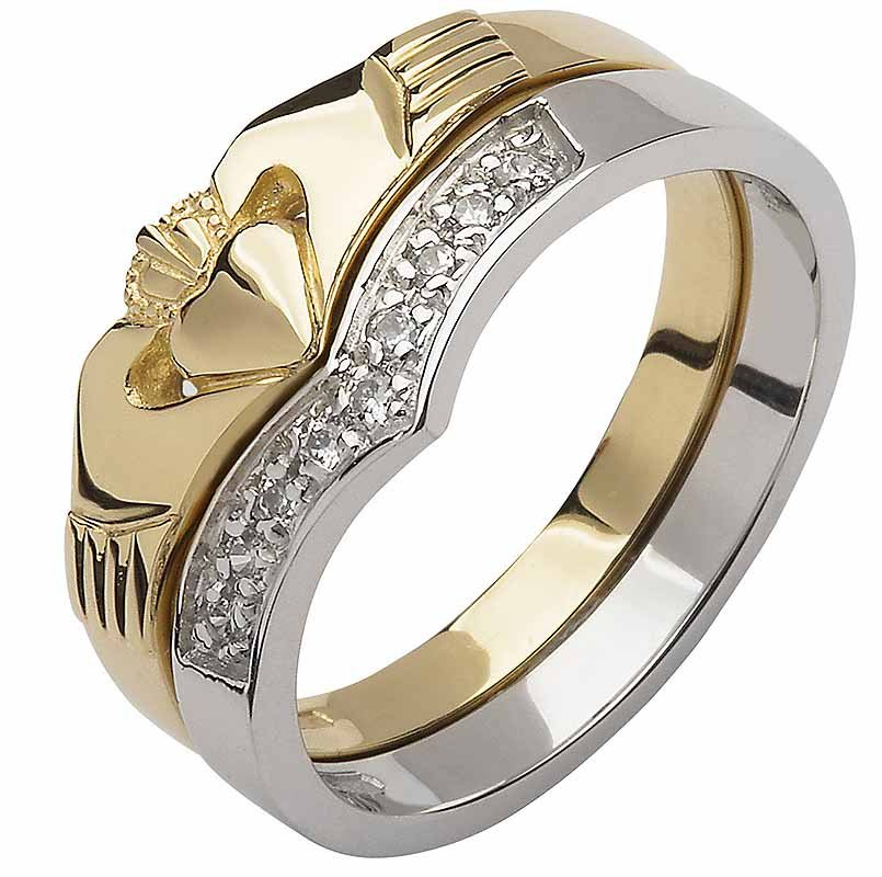 Irish Wedding Band - 10k Yellow and White Gold Diamond Wishbone Ladies Claddagh Ring