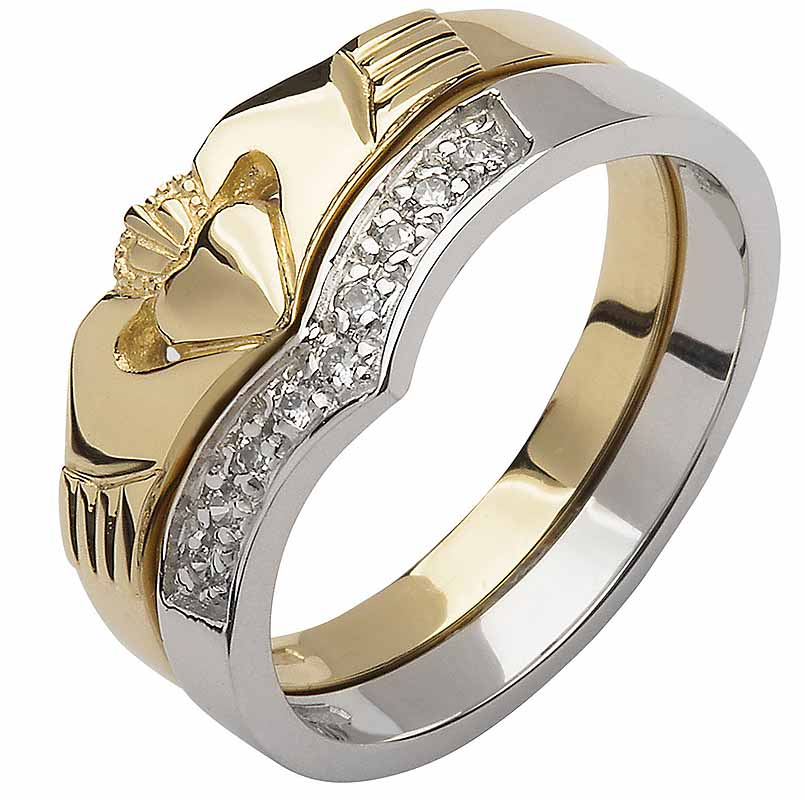 Irish Wedding Band 10k Yellow And White Gold Diamond Wishbone Las Claddagh Ring
