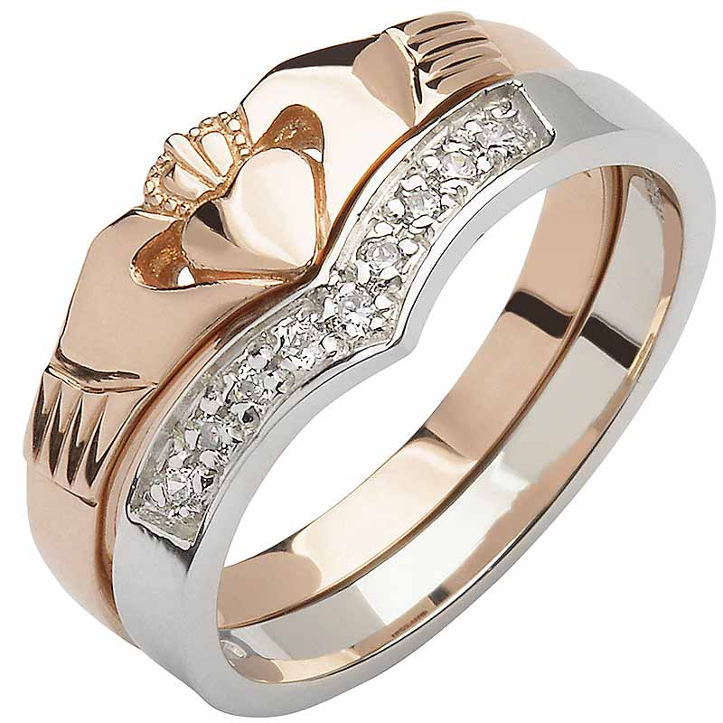 Irish Wedding Rings.Irish Wedding Band 10k Rose And White Gold Diamond Wishbone Ladies