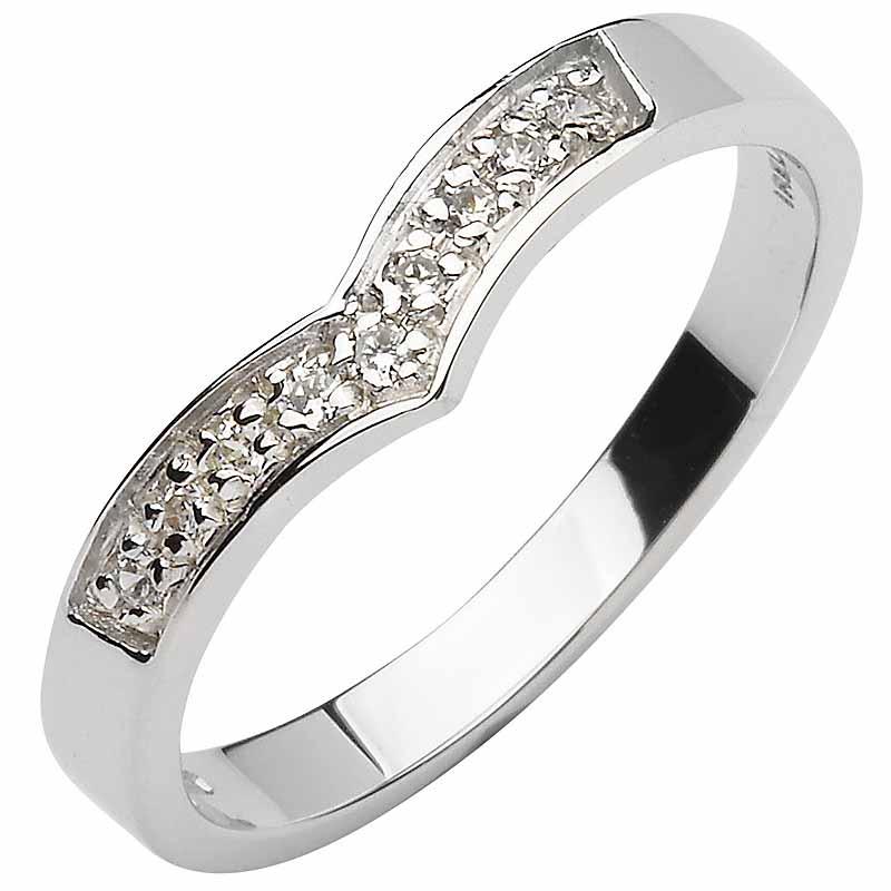 Irish Wedding Band 10k White Gold Diamond Ladies Wishbone Ring