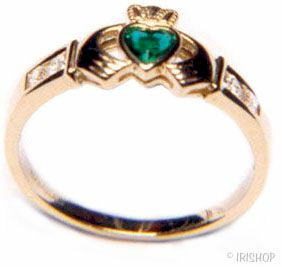 Claddagh Ring - Ladies 10k Gold with Green Stone and CZ Claddagh