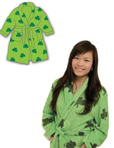 Ladies All Over Shamrock Dressing Gown