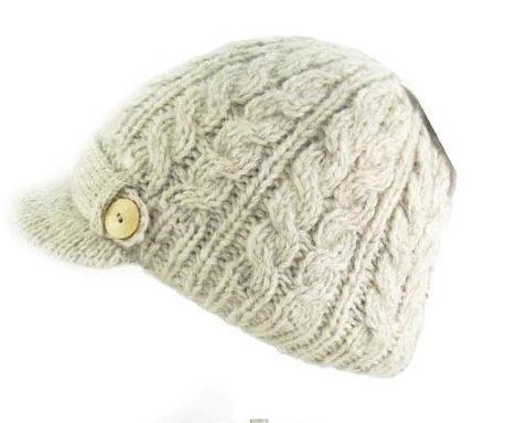 692b24bf038 Irish Hat - Wool Aran Ladies Irish Hat with Peak - Oatmeal at ...