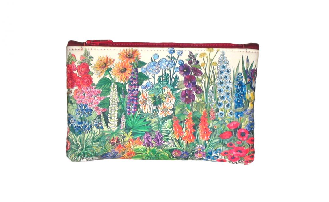 Leather Top Zip Purse - Summer Flowers