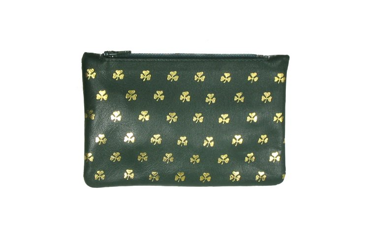 Green Leather Top Zip Purse - All Over Shamrocks