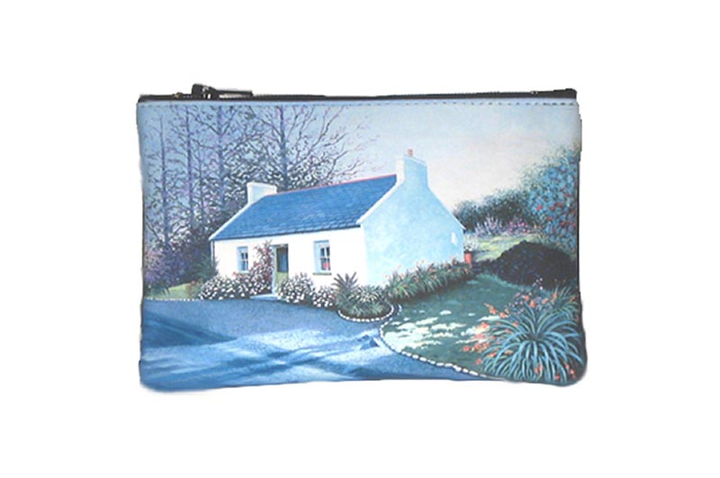 Leather Top Zip Purse - Irish Cottage