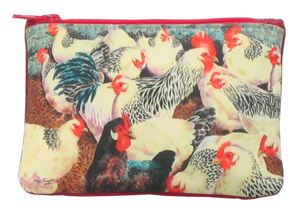 Leather Small Top Zip Purse - White Hens