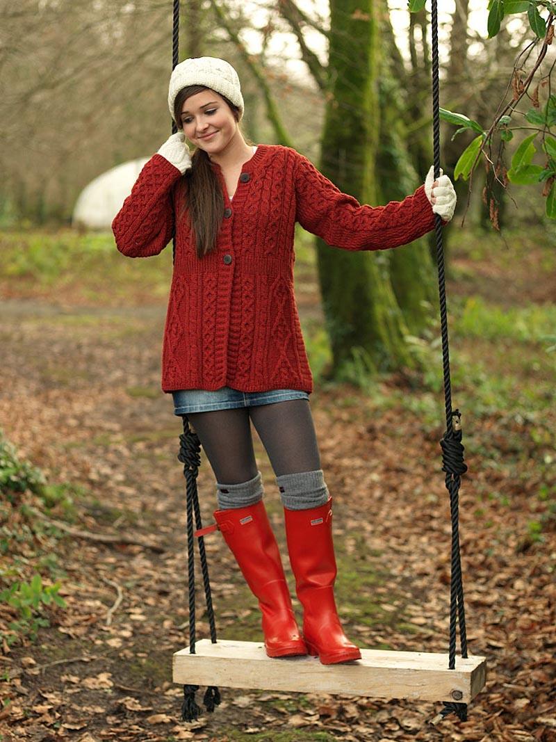 Wool Cardigan Sweater - Ladies Merino Wool A-Line Aran Cardigan at ...