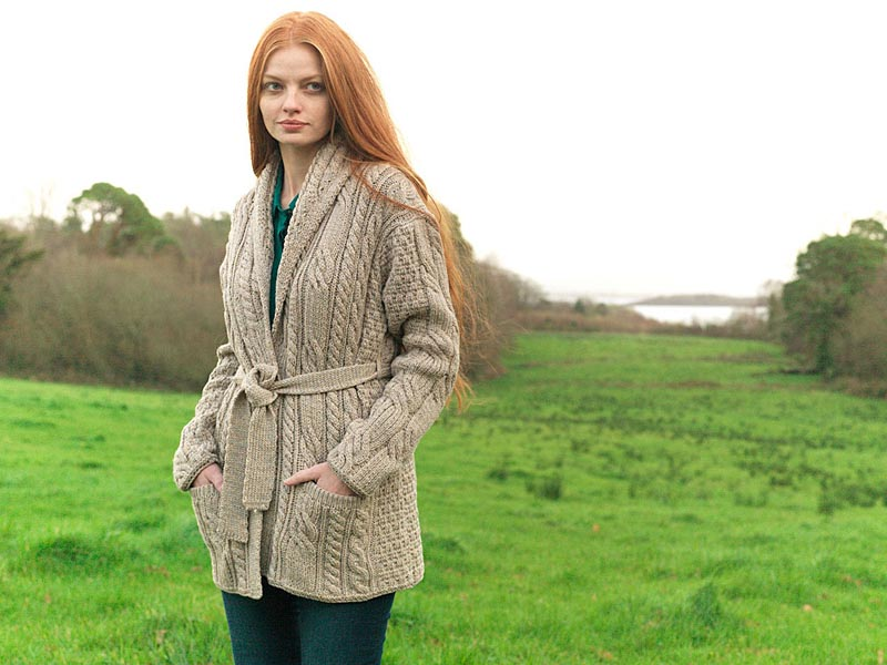 Wool Cardigan Sweater - Ladies Merino Wool Aran Belted Cardigan ...