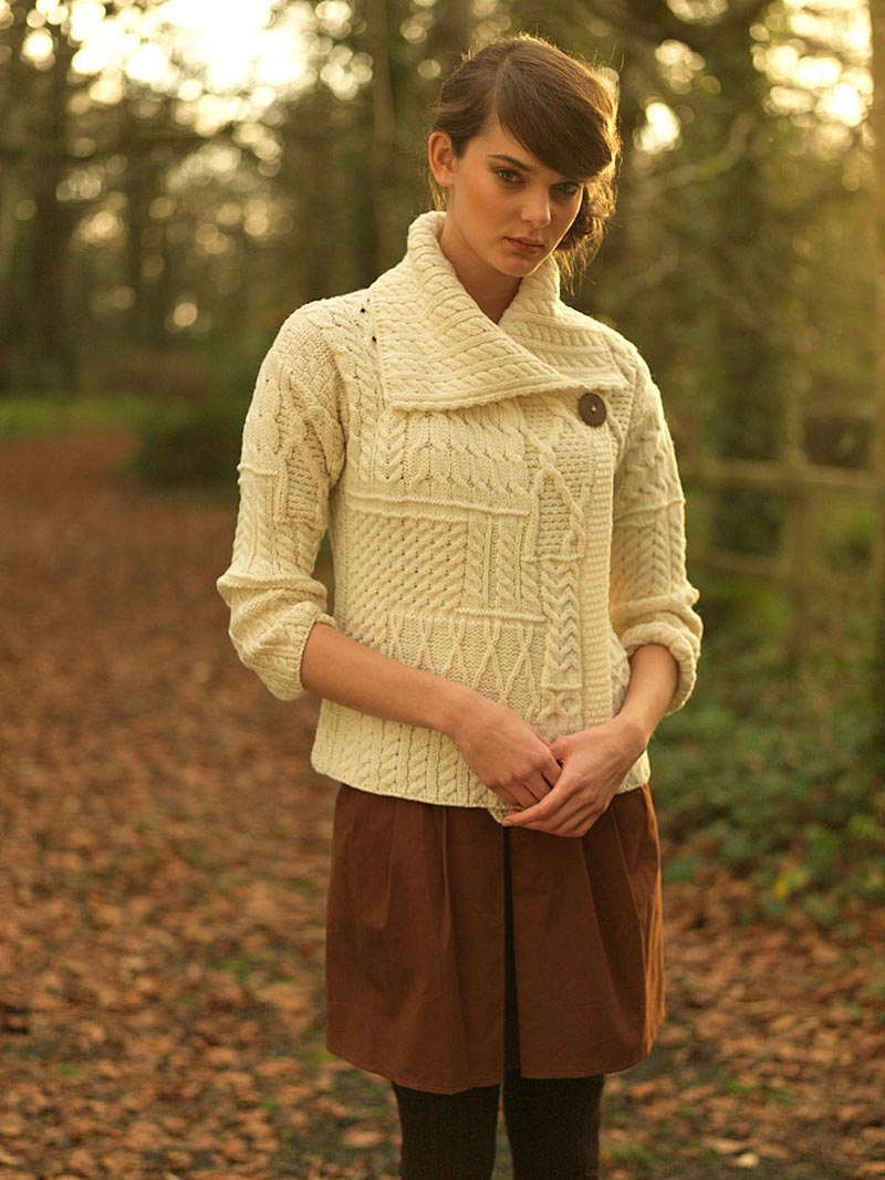 Wool Cardigan Sweater Ladies Merino Wool One Button Aran