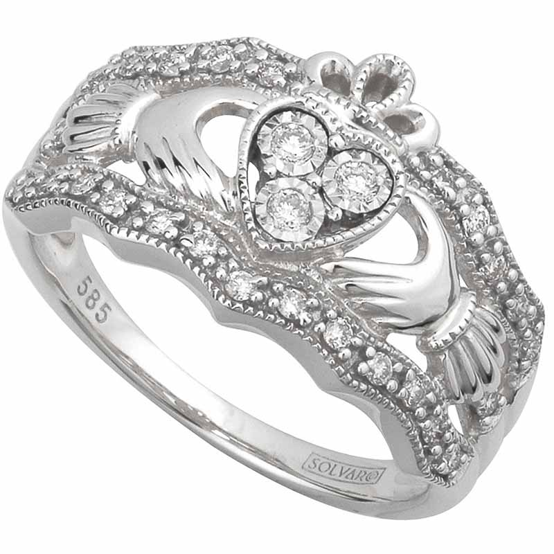 claddagh ring 14k white gold diamond ladies irish claddagh band - Wedding Ring And Band