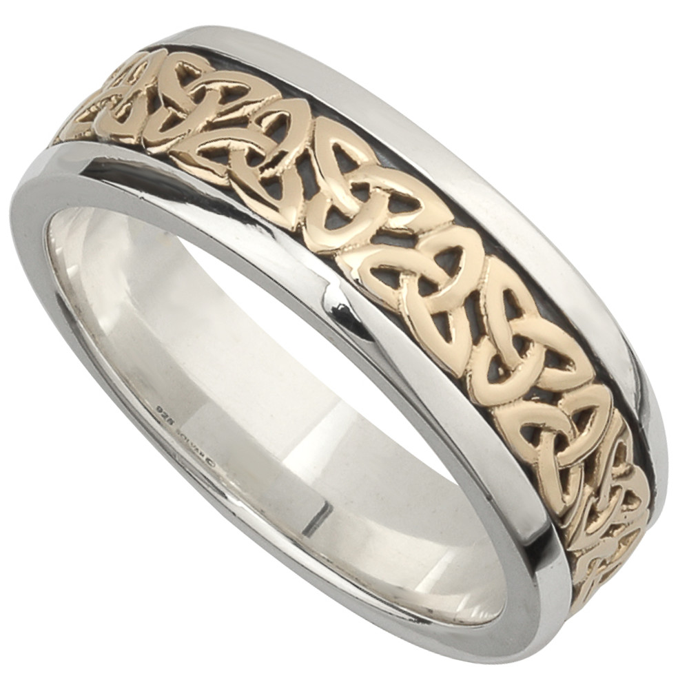 irish wedding band 10k gold and sterling silver mens celtic trinity knot ring - Gold And Silver Wedding Rings